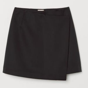 H&M Black Asymmetrical Faux Wrap Skater Skirt